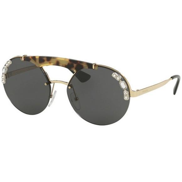 5524ef8c8e31 Prada Sunglasses Pale Gold Medium Havana w Grey